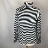 Marks And Spencer Size 16 Long Sleeve High Neck Nautical Top Striped Blue White
