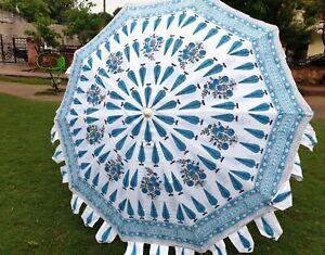 Large Hand Block Sun Shade Cotton Beach Umbrella Indian Decorative Floral Patio