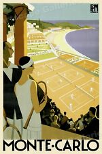 1920s Monte Carlo Tennis Courts - Classic Vintage Style Travel Poster - 24x36
