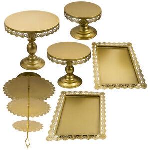 6×Tortenständer Kuchenständer aus hochwertigem Eisen 3 Etagen Runde Gold GUT