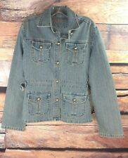 AC-3998 Womens Sz Large Blue Jean Jacket Access Basic Stretch Button Down