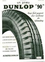 Publicité ancienne automobile pneu Dunlop 1936 issue de magazine