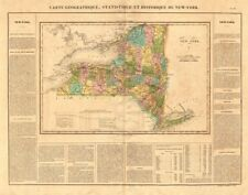 Estado de Nueva York Mapa Antiguo. excl. Boston Esquina. perfil. Buchon 1825 canal Erie