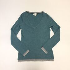 Banana Republic Green Italian Wool Yarn V Neck Sweater Double Cuff Womens XS