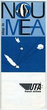 UTA French Airlines Stop In Noumea Brochure w/ map Vintage 1960s Rare French