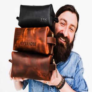 Personalised Mens Dopp Kits Leather Bag Travel Toiletry Organizer Handmade Gift