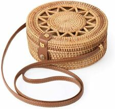 Women Straw Bag Hand Beach Rattan Shoulder Bags Bamboo Bag Handbag Crossbody US