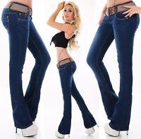 jeans pantaloni donna aderenti svasati a vita bassa taglio zampa di elefante