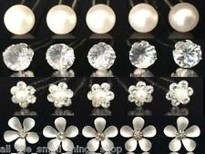 1 - 20 Diamante Pearl Rhinestone Solitaire Flower Daisy Hair Pins Wedding Ball