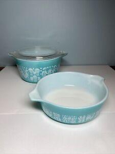 Vintage Pyrex #471 & #473 Amish Butterprint Turquoise Casserole Dishes W/ Lid