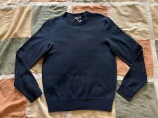 $270 A.P.C. han navy blue 100% merino felted wool crewneck sweater M men NEW apc