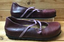 Oxygen Leather Mary Jane Burgundy Flats Shoes UK 5.5