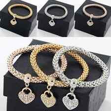 Women 3Pcs Gold/Silver/Rose Gold Heart Rhinestone Bracelets Bangle Chain set