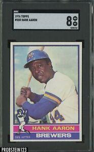 1976 Topps #550 Hank Aaron Milwaukee Brewers HOF SGC 8 NM-MT