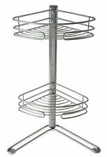 NON RUST 2 TIER CORNER FREE STANDING SHELF STORAGE SHOWER BATH CADDY ORGANISER