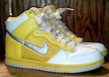 Women's Nike Dunk High Top Basketball Shoes Yellow & White & Silver Sz 6 Ladies