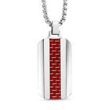 Tungsten Carbide Dog Tag Pendant w/ Red Carbon Fiber Inlay on 3mm Chain