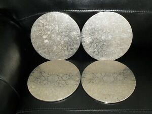 Set of 4 Vintage Silver Plated Round Placemats/Coasters Pre-owned