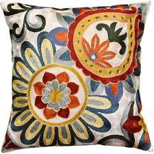 "Suzani Daisy Elements Ivory Decorative Pillow Cover HandmadeArt Silk 18x18"""