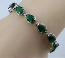 Green Emerald Tear Water Drop with White Topaz Gemstones Tennis  Bracelet