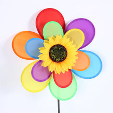 Sunflower Fun Windmill Wind Spinner Decoration Home Yard Garden Double Cloth