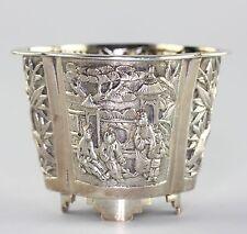 Antique Chinese Qing Era Silver Repousse Open Salt RARE KMS Kwan Man Shing Mark