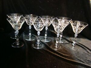 VTG MCM  Floral Etched Optic Cut Clear Tall Cocktail Art Deco Glasses Set of 8