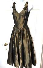 Laura Ashley Vintage Party Dress Cocktail Gold Bronze Taffeta Full Skirt 8 US 6