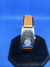 ladies kenneth cole silver tone watch silver grey face,brown leather strap.#b4.