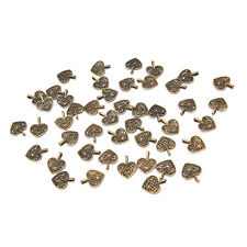 50 Pcs Tibetan Silver Bronze Filigree Heart Charm Pendants DIY Jewelry Making ES