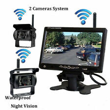 """2pc Car Rear View Wireless 12V/24V Back up IR Camera + 7"""" Monitor For BUS Truck"""
