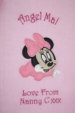 Disney Baby Minnie Mouse Luxury Personalised Applique Super Soft Fleece Blanket