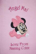 Disney Baby Minnie Mouse Lujo Personalizado Con Aplique Super Suave Manta Polar