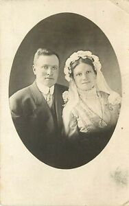 c1910 RPPC Scandinavian Looking Couple Wedding Photo by F.A. Owen, Dansville NY