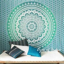 Queen Large Green White Mandala Ombre Bedspread Wall Hanging Indian Tap