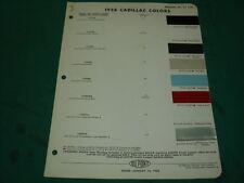 CADILLAC 1958  FEUILLET NUANCIER PEINTURE DUPONT  D ORIGINE - NO COPY