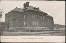 YORK PA Garfield School Town View Antique 1907 Flag Cancel Postcard Old Vtg UDB
