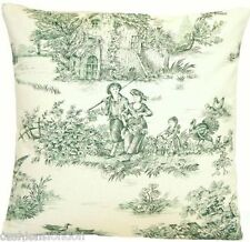 Green Cushion Cover French Toile Designers Fabric Pastourelle Vintage Country