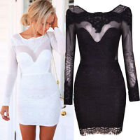 Women Long Sleeve Sexy Bodycon Cocktail Party Evening Clubwear Slim Mini Dress