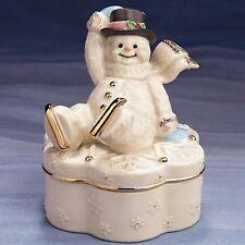 Lenox Fine China Winter Wonderland Music Box w/ Snowman on the Lid - New