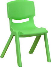 """(6 Pack) Green Plastic Stackable Preschool Activity Chair with 12"""" Seat Height"""