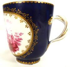 Taza de Porcelana Fina Estilo Antiguo Sevres Puce escena Azul Dorado Esmalte Tierra B