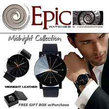 EPIC TIME- Midnight Leather Black Dress Watch-Men