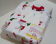 Pottery Barn Kids Christmas Elf Santa's Work Shop Flannel Cotton Twin Sheet Set