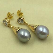 Genuine 11-12 mm Naturel Gris Akoya Freshwater Pearl Dangle Earrings Y4398