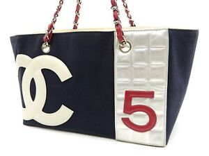 CHANEL No.5 CC Chain Tote Shoulder Bag Canvas Leather Navy Silver 18644 V-6870