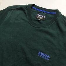 Barbour International Bottle Green Cotton Crew Neck T-Shirt (Small, Hipster)