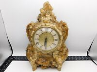 Large Rock Mantle Clock Lanshire Electric Vintage Stone Molded Resin 15""