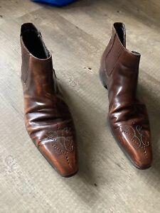 Bally Stiefel Boots Leder Luxus Vintage Paris 41,5