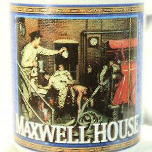 Maxwell House Coffee Cup Mug 12 oz Years gone by Fire House Snow Shoveling 31846